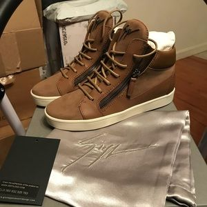 NEW Giuseppe Zanotti Tan Leather & Suede Sneakers